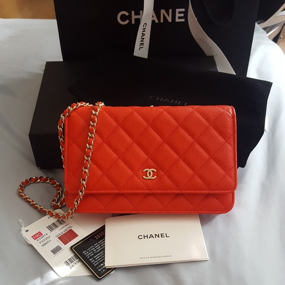 7f60618b0386 CHANEL Bags | New Authentic Caviar Red Wallet On Chain | Poshmark